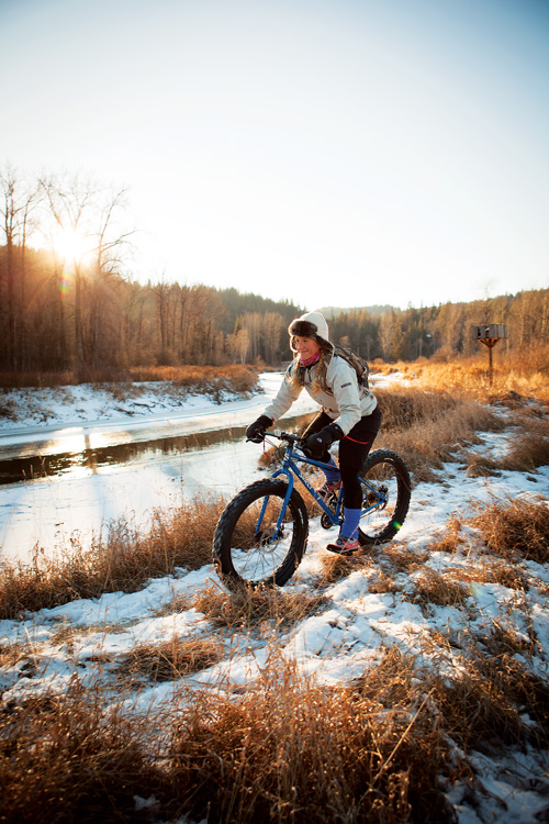 Pedaling through the frozen wilds. Photo: Alan Lemire.