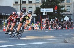 Riders along the Lilac City Twighlight Criterium route downtown Spokane. Photo: Hank Greer
