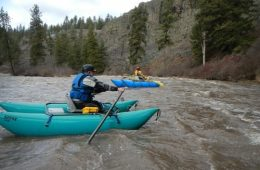 Northwest Whitewater Association cataraft crew taking advantage of peak flows on Latah Creek. Photo: Dan Schaffer
