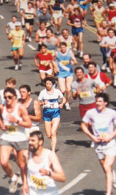 Bloomsday 1987. Sylvia finished the 12k in a smoking 51:45.