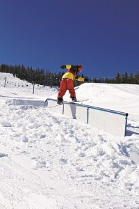 Rail time in one of Lookout's three terrain parks. Photo courtesy: Lookout Pass Ski and Recreation Area