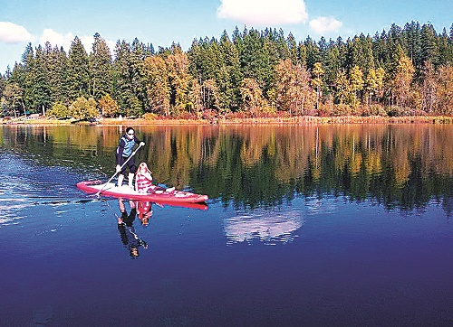 Paddling the calm water. Photo courtesy of Stillwater SUP