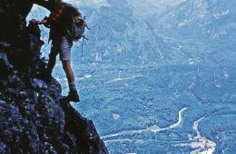 John Roskelley climbing on Mt. Index in the north Cascades in the summer of 1965. Photo: Chris Kopczynski