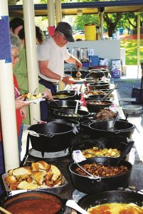 Food line at the Sacajawea Bluegrass Festival. Photo: Scott Butner