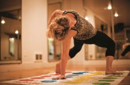 Yoga sometimes looks like a good game of Twister. Photo: Fiona Hicks