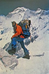 John Roskelley achieving the first ascent of Gaurishankar, Himalayas, 1979.  Photo courtesy Piolets d'Or