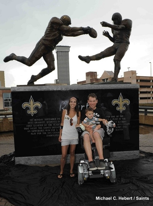 "The Gleason Family at the dedication of the ""Rebirth"" statue. Photo: Michael C. Herbert, New Orleans Saints"