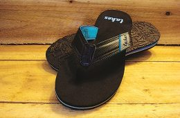 """Embossed in the foot strap is one of the company's slogan's, """"I'm at the Lake."""" Photo courtesy of Lakes Brand"""