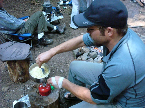 Stirring up a one pot meal. Photo: Shallan Knowles