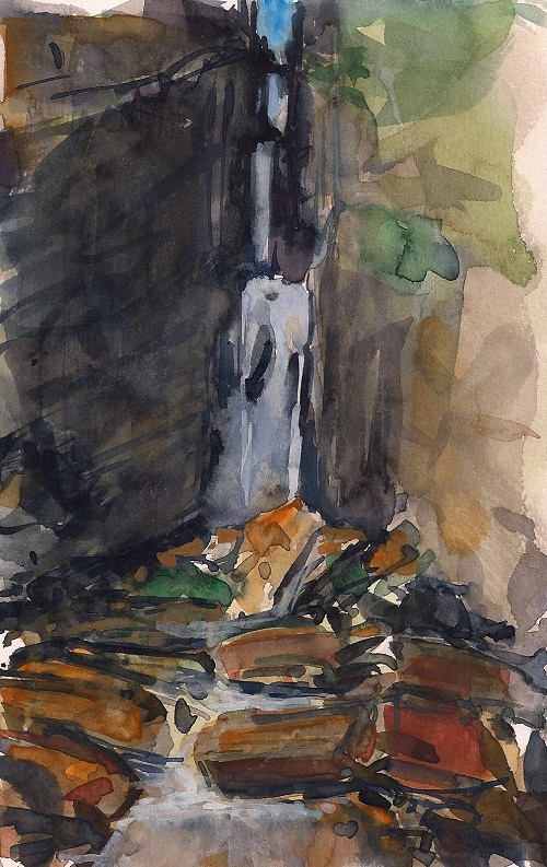 Grotto waterfall watercolor by Aaron Johnson. Photo: Sandy Compton
