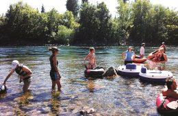 Swimmers cool off in the Spokane River below Sandifur Bridge. Photo: Shallan Knowles