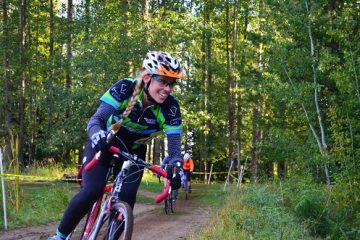 Angie Feser having intense fun with cyclocross. Photo: Hank Greer