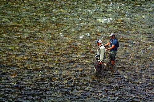 Brad Naccarato and ROW guide Randy Dingman work a shallow drift. All photos courtesy of David Uhlenkott