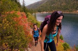 Hiking along the shore of Stevens Lake. Photo: Skye Schillhammer