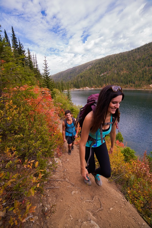 Hiking along the shore of Stevens Lake. Photo: Skye Schillhammer