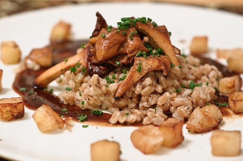 Farro with chanterelles. Photo courtesy of Herbavoracious.com