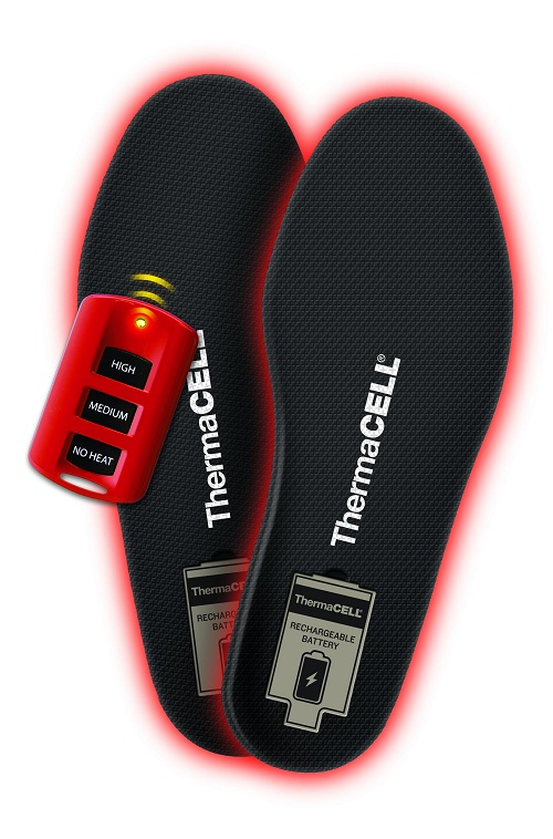 Thermacell ProFLEX Heated Insoles have three settings that you can control with the small remote.