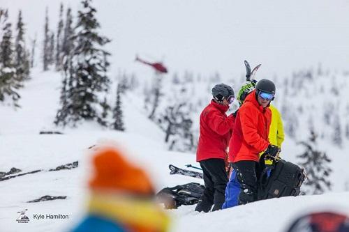 Peak Video Productions heli skiing shoot. Photo courtesy Kyle Hamilton