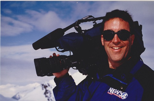 Jim Bolser shooting skiing for KXLY.