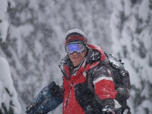 Jim Bolser shooting in the snow. Photo courtesy Kyle Hamilton