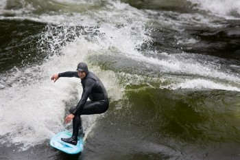 KB of Strongwater Mountain Surf Shop in Missoula shreds the Pipeline Wave on Idaho's Lochsa River at optimal flows during the 2014 Pipeline Classic river surf event. Photo: Seth Warren