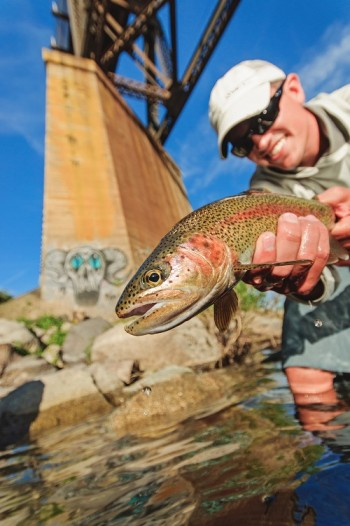 Urban fly fishing on the Spokane River. Photo courtesy of Michael Visintainer