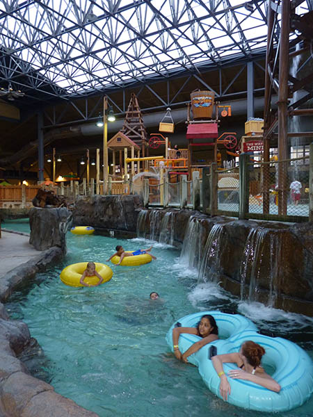 Lounging on the lazy river at Silver Mountain Resort. Photo: Amy Silbernagel McCaffree.