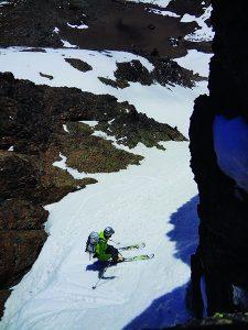 Lena Lake Couloir (skier Kevin Oberholser). Photo: Mikell Bova