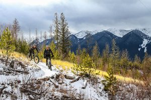 Snow-covered single track, Fernie, B.C. Photo courtesy of Mark Gallup.
