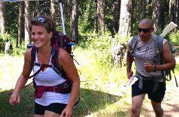 Photo of Erika Prins Simonds running the Kaniksu 50 Ruck Race.