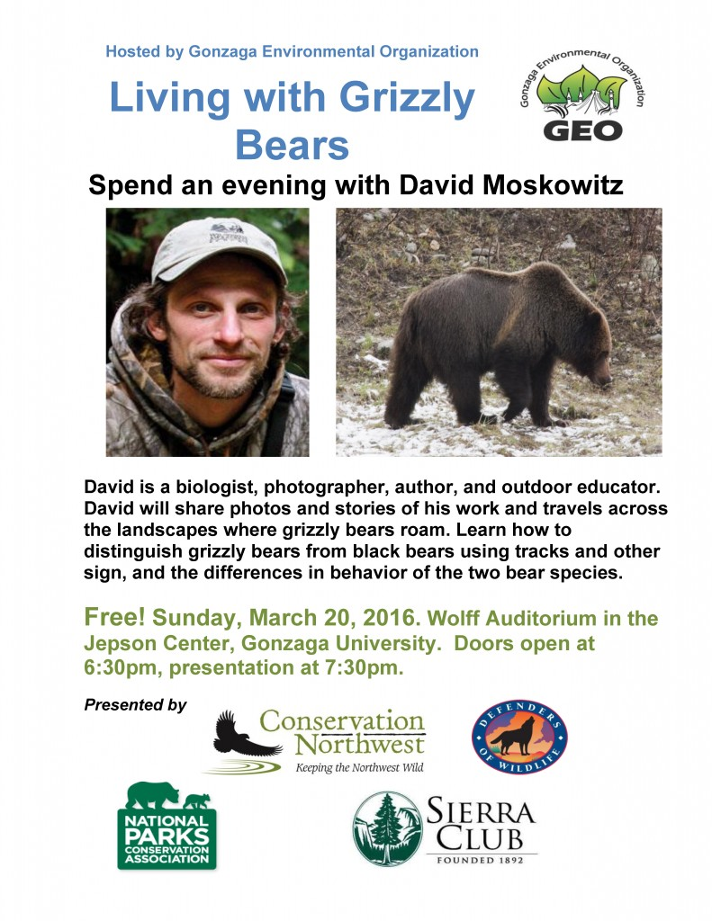 Living with Grizzly Bears Spokane 3.20 730 pm