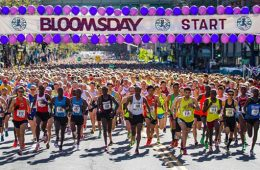 Photo of Bloomsday runners at starting line.
