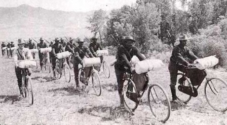 Back in 1897, U.S. Buffalo Soldiers, a group of all African American soldiers, were ordered to pedal 1,900 miles from Ft. Missoula to St. Louis in full uniform, through the very worst terrain and weather on 35 lb one-speed bikes. The riders packed tents, tools, rifles, and ammo with them while settling for hard tack for meals.