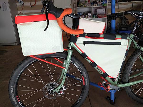 Do-it-yourself handsewn bike gear, including bike frame panniers.