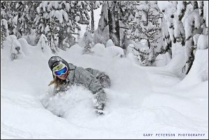 Jessica deep in the trees at Lookout Pass. //  Photo: Gary Peterson. Photo courtesy of Ski The Northwest Rockies.