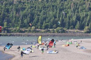 Kite boarders in the Columbia Gorge upriver from Hood River. Photo: John Roskelley