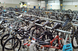 Photo of bike corral at the swap.