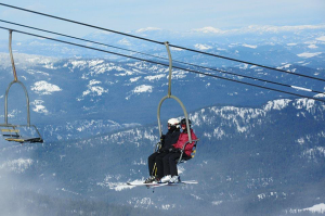 Eric and Fay on chairlift at 49N. // Photo: Steve Boosinger