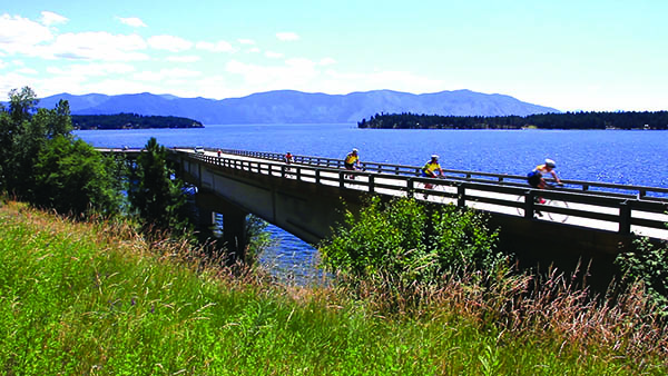 Cyclists racing on Long Bridge across Lake Pend Oreille in the Chafe 150 event.
