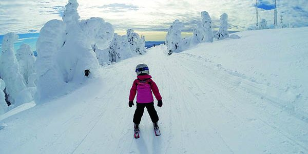 Young skier on cat-track trail on the southwest side of Mt. Spokane Ski & Snowboard Park. Photo by Judd McCaffree.