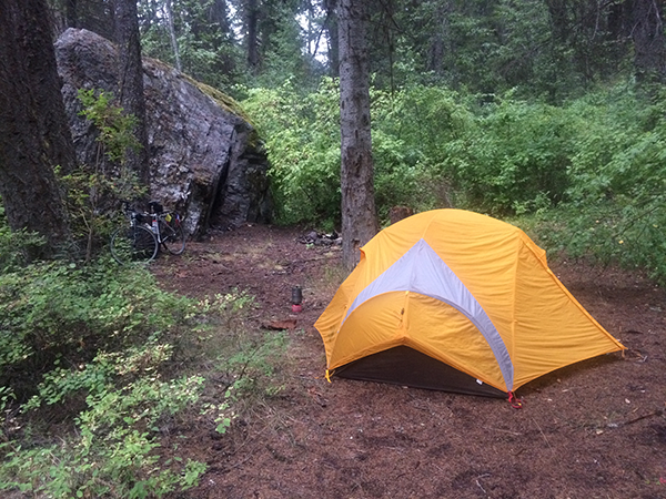 Small yellow tent in a backcountry forest campsite.
