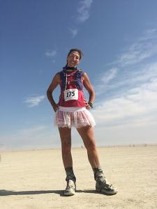Photo of the author at mile 26 courtesy of Janelle McCabe.