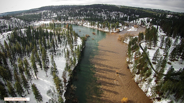 Photo of Latah Creek erosion pouring into the Spokane River by Jerry White Jr.