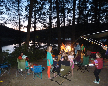 Photo of families camping together by Amy S. McCaffree.