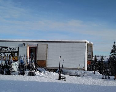 The outside of the Fitness Fanatics trailer at Selkirk Lodge on Mount Spokane.