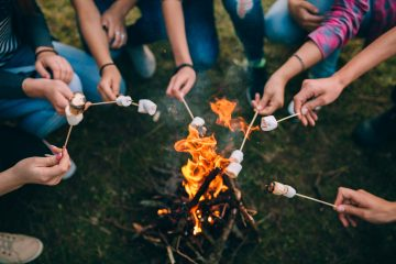 Campfire with roasting marshmallows