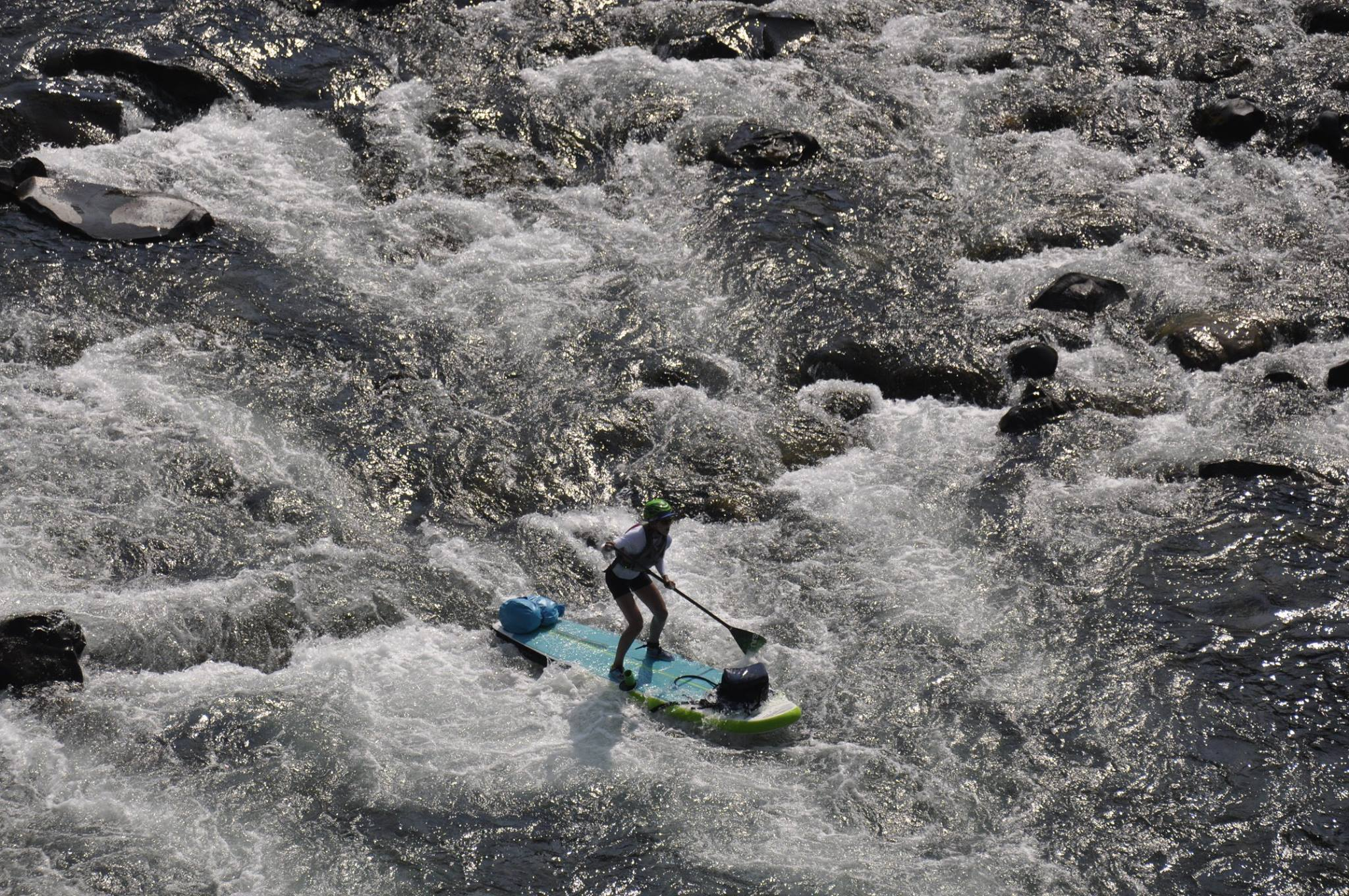 Allie paddles through the Bowl and Pitcher rapids at Riverside State Park in Spokane. (Photo from Allie Roskelley.)