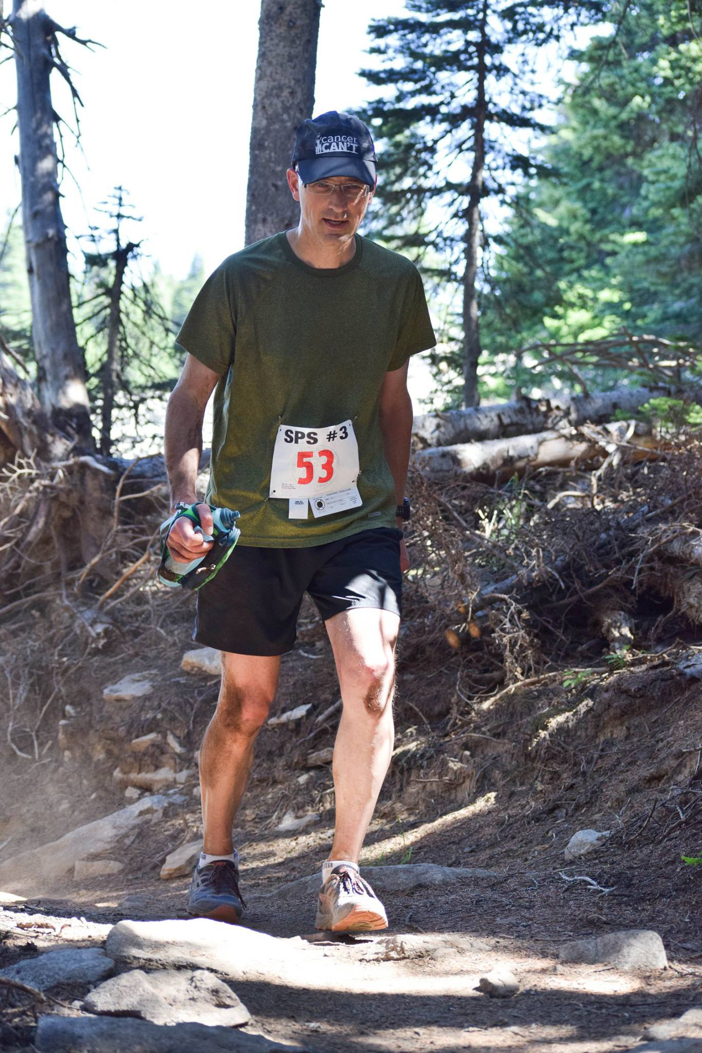 Thiessen at the Trail Maniacs Mt. Spokane State Park 25k in late July, 2017. The Trail Maniacs sponsored Thiessen's efforts by providing run entries throughout the season in preparation for his late-fall 50k goal. (Photo: Trail Maniacs.)