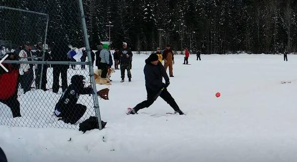 Photo of snowshoe softball tournament courtesy of Dan Barrington.
