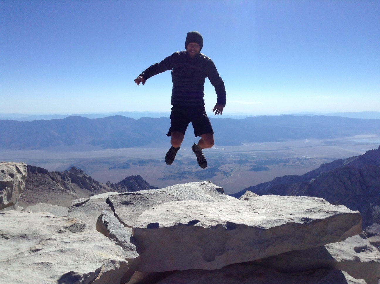 "Tim ""Tribhu"" Plaza doing a jump at the top of Mt. Whitney (Photo from Tribhu Plaza)"